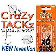 CraZy TACKz 72 tacks - 2 in 1 push pin + thumb tack + cup hook - Decorate, Organize & Hang 1000's of Items at Home, School, Office like Keys, Posters, Sunglasses, Wires - 6 separate packs w 12 each. (RNC (Round&Clear) 00300-6packz=72pcs)