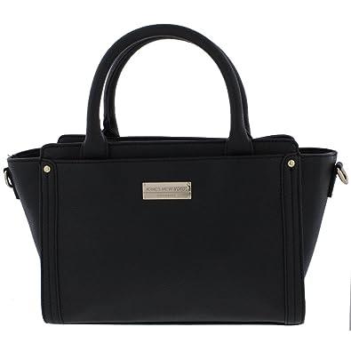 c186a0d44e35 Amazon.com  Jones New York Womens Avery Faux Leather Logo Satchel Handbag  Black Medium  Shoes