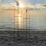 The French Country Style Garden Trellises, Set of 2, for Plants, Climbing Flowers and Vines, Rusty Heirloom Style Finish, Water and Weather Resistant, 5 Ft 11'' and 5 Ft 3'''' Tall, Iron, by''