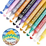 Paint Pens for Rocks Painting, Acrylic Paint Markers for Wood, Stones,Ceramic,Glass,Metal,Mugs,Plastic,Scrapbook Album,Fabric,Canvas,Metallic,DIY Arts and Crafts Pens Permanent, Set of 12 Colors