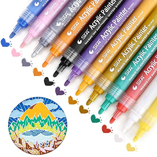 Paint Pens for Rocks Painting, Acrylic Paint Markers for Wood, Stones,Ceramic,Glass,Metal,Mugs,Plastic,Scrapbook Album,Fabric,Canvas,Metallic,DIY Arts and Crafts Pens Permanent, Set of 12 Colors by Akaru