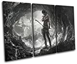 Bold Bloc Design - Lara Croft Tomb Raider Gaming 60x40cm TREBLE Canvas Art Print Box Framed Picture Wall Hanging - Hand Made In The UK - Framed And Ready To Hang