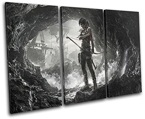 Bold Bloc Design - Lara Croft Tomb Raider Gaming 60x40cm TREBLE Canvas Art Print Box Framed Picture Wall Hanging - Hand Made In The UK - Framed And Ready To Hang by Bold Bloc Design