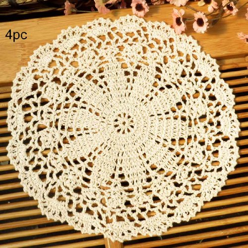 (kilofly Crochet Cotton Lace Table Placemats Doilies Value Pack, 4pc, Persia, Beige, 10 inch)