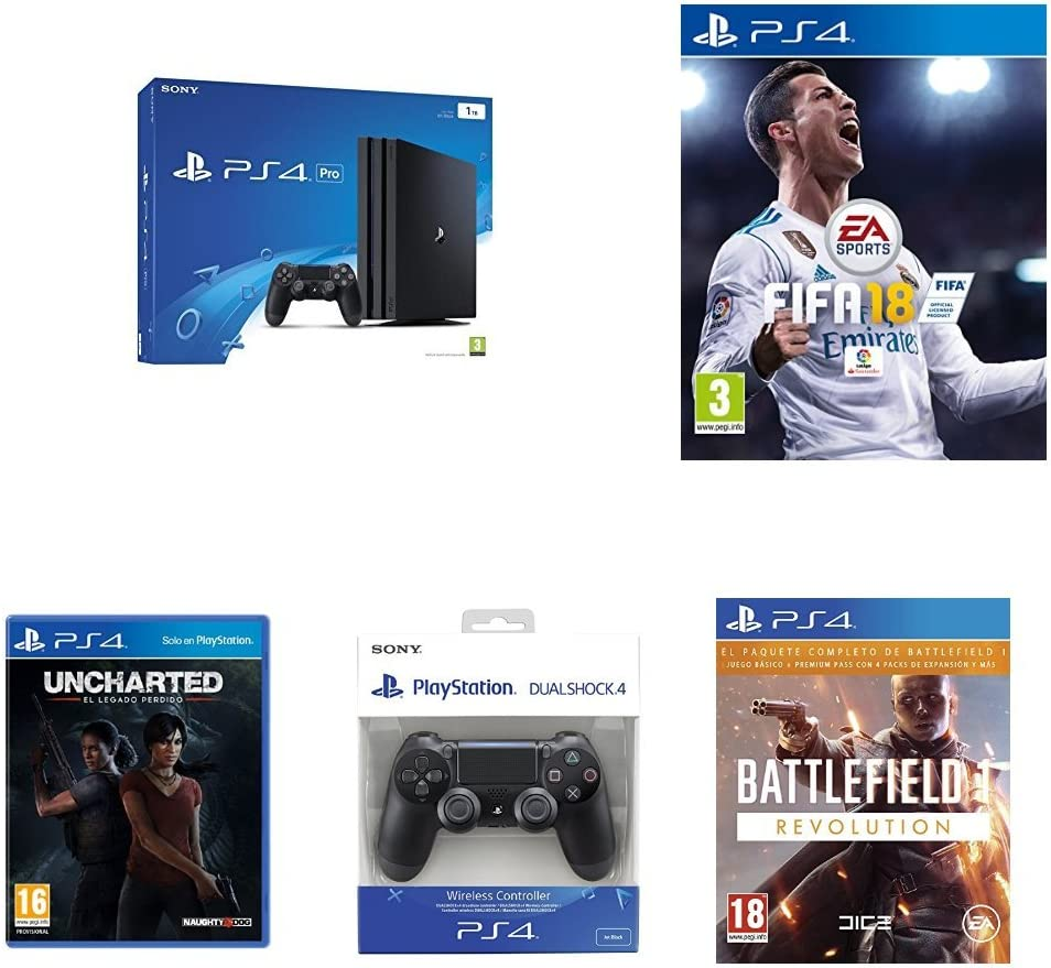 PlayStation 4 Pro (PS4) - Consola, Color Negro + FIFA 18 - Edición Estándar + Sony - Dualshock 4 V2 Mando Inalámbrico, Color Negro V2 (PS4) + Battlefield 1 - Edición Revolution + Uncharted: El Legado Perdido: Amazon.es: Videojuegos