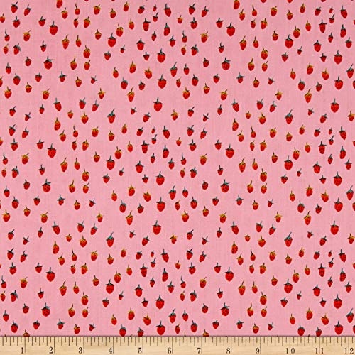 Windham Fabrics Heather Ross Field Strawberries Pink Fabric Fabric by the Yard