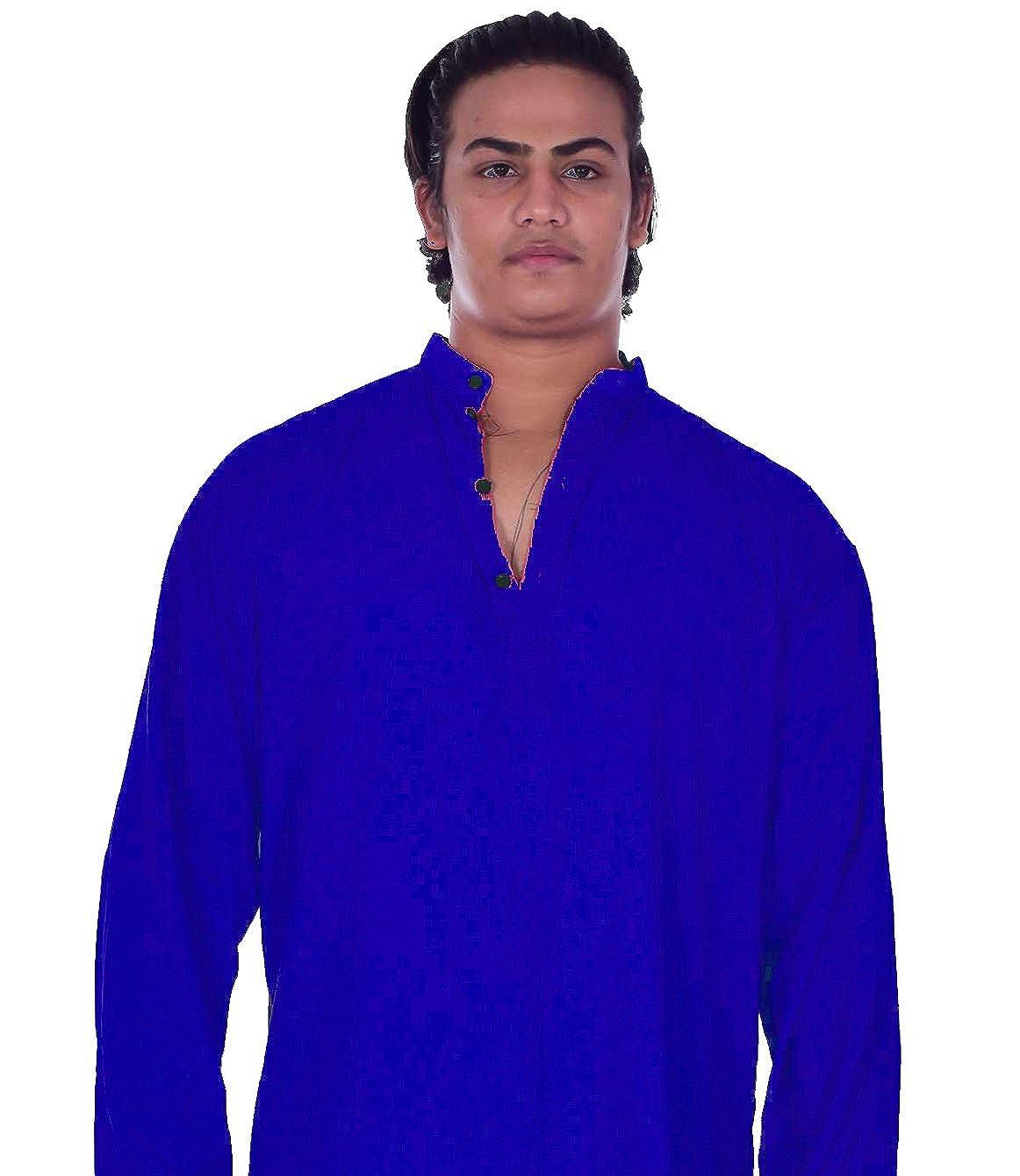 Lakkar Haveli Indian 100/% Cotton Man/'s Shirt Loose fit Plan Royal Blue Color Solid Print Plus Size