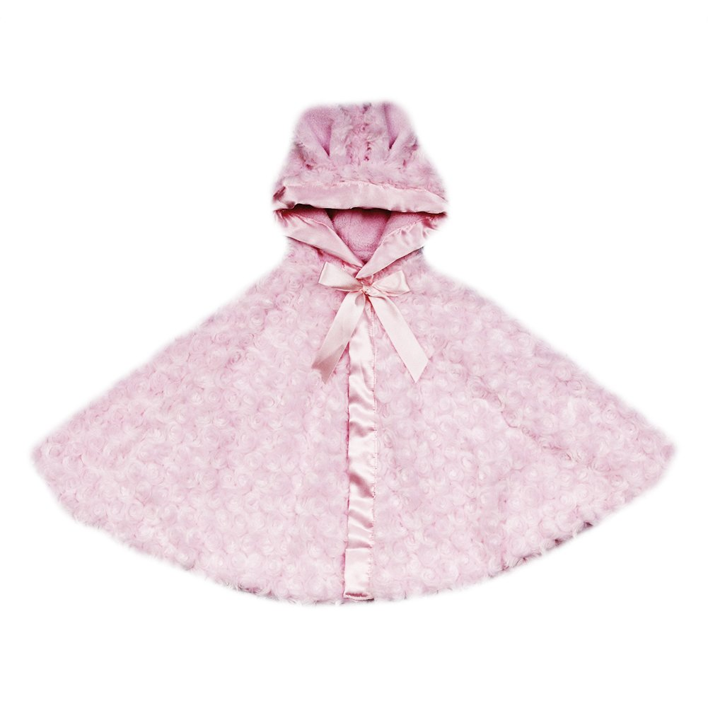 Blankets and Beyond Rosette Cape with Soft Hood Pink