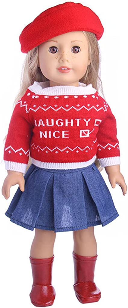 Fashion Dress Overalls Shirt Set Fits 14.5 Inch American Girl Doll Sweet Clothes