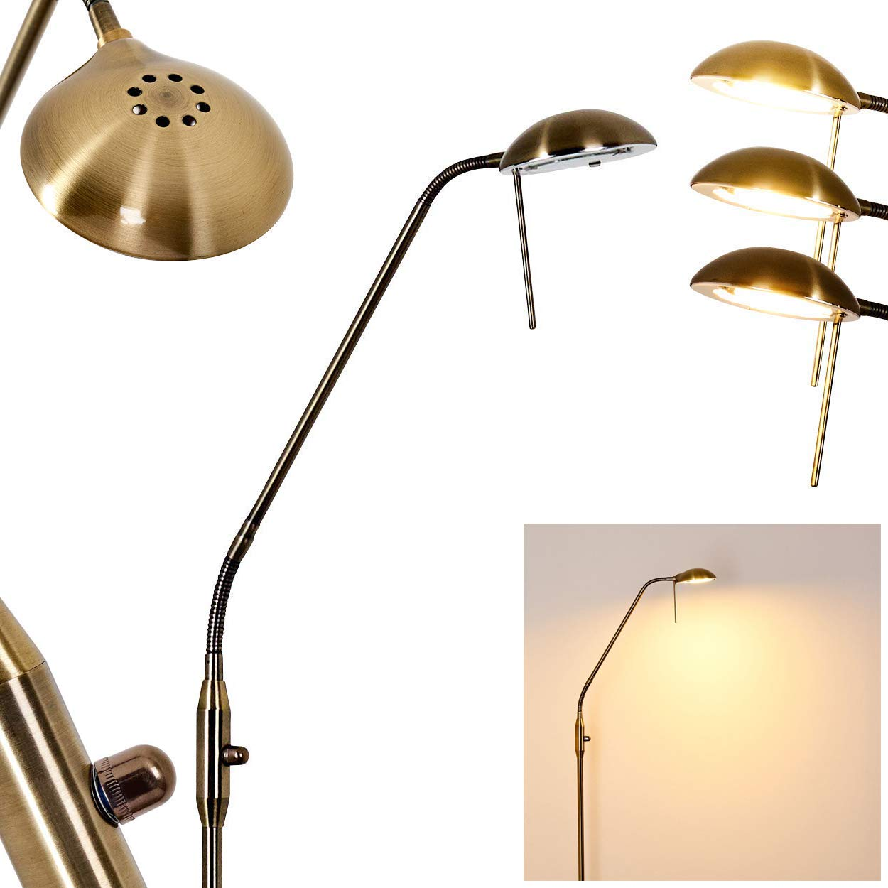 Stehleuchte Ebikon dimmbar aus Metall Altmessingfarben - Stehlampe 2750 Kelvin, 780 Lumen, Bodenlampe für Wohnzimmer, Büro, Schlafzimmer, stufenloser Drehdimmer, Leuchtenkopf flexibel verstellbar