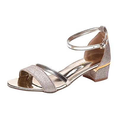 445a9f9242 Sandals for Women Ladies Sequins Ankle Strap Mid Heel Block Open Toe Party Casual  Shoes (
