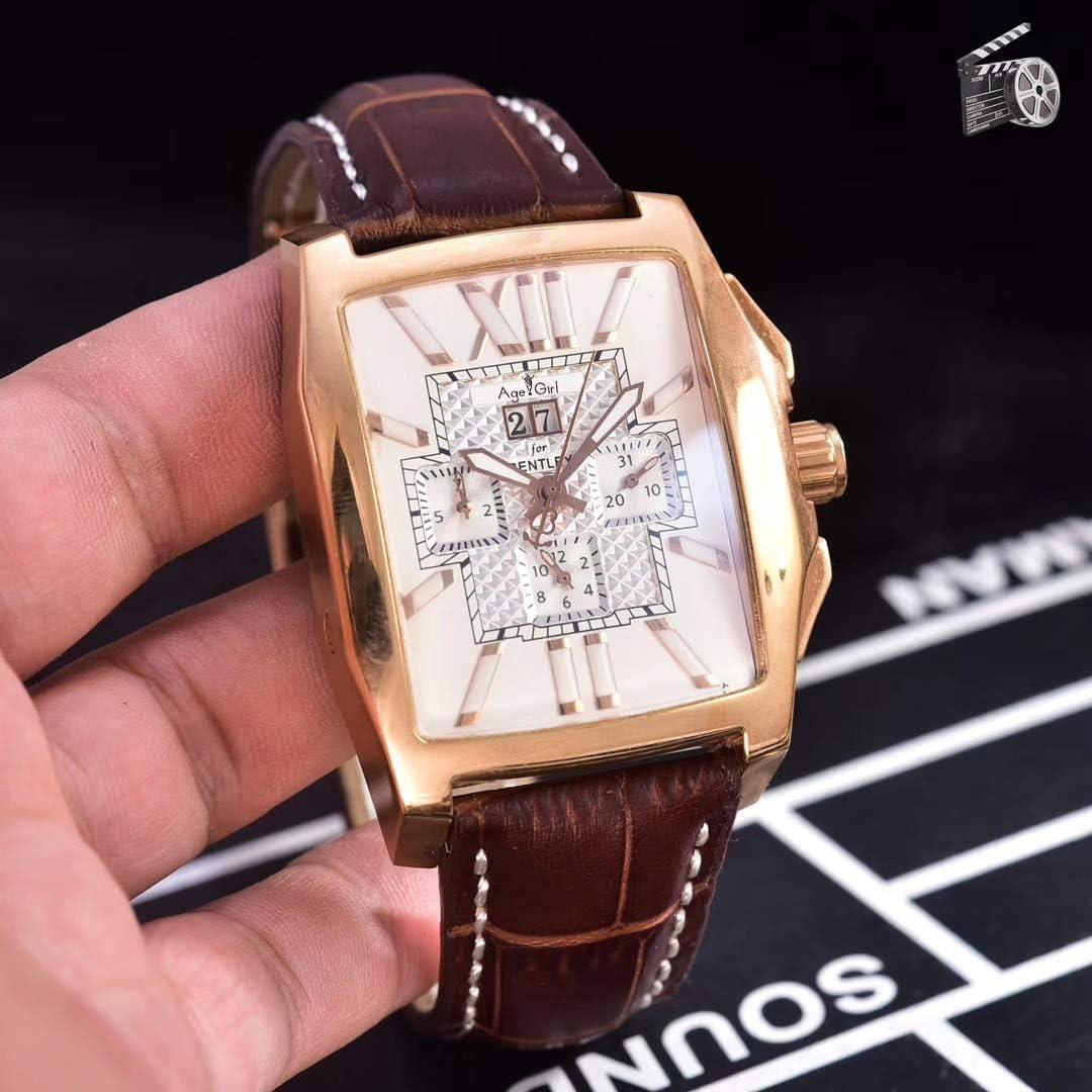 IWHSB Relojes de Pulsera automáticos de Marca Cronógrafo de Cuarzo Reloj de Hombre Cronómetro Cristal de Zafiro Relojes Deportivos Cuadrados de Cuero Negro