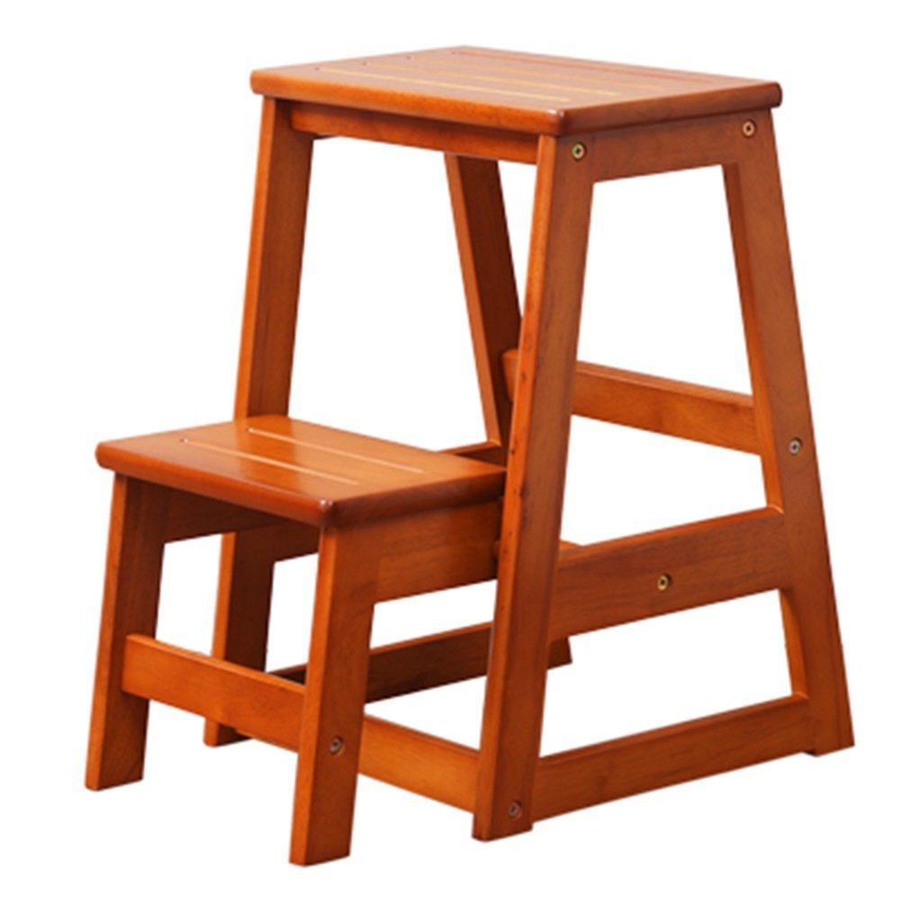 STEP STOOL 木製 折りたたみ式 2段 大人 子供 家庭 屋内 キッチン 梯子棚 B07G3CP9XH