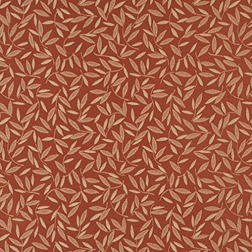 E213 Rust Red Floral Leaf Residential and Contract Grade Upholstery Fabric by The Yard