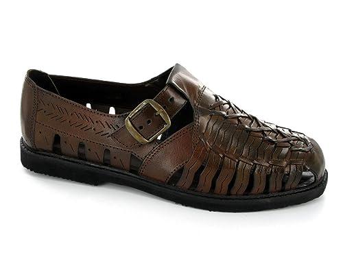 Gordini Shane uomo intreccio in pelle sandalo nero, Marrone (Brown), 45.5