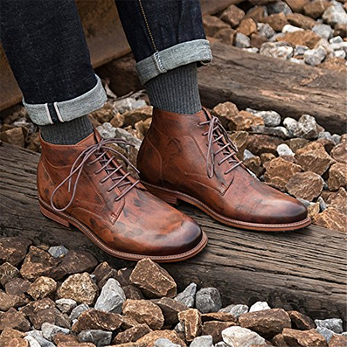 Stivali Chukka Mens Premium In Pelle Di Vitello Con Bottoni Automatici Allacciatura Alla Caviglia G618 Marrone