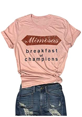 c0b267425 Mk Shop Limited Women T-Shirt Tops Mimosas Breakfast of Champions Letters  Printed Short Sleeve