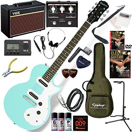EPIPHONE エレキギター 初心者 入門 丸みを帯びたかわいいデザインのレスポール VOX Pathfinder10とVOXのマルチエフェクターが入ってる完璧21点セット Les Paul SL/TQ(ターコイズ) B077Z4H1SD TQ(ターコイズ) TQ(ターコイズ)