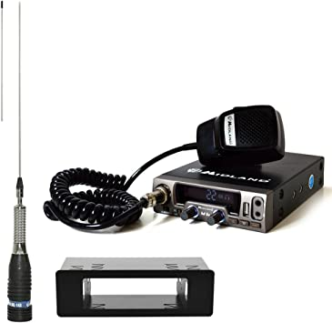 PNI CB Radio Kit de Midland M10 (c1185) + 1 DIN Carcasa de + CB de Antena Midland ml145 sin Cable (t562.01) 160 cm de Largo