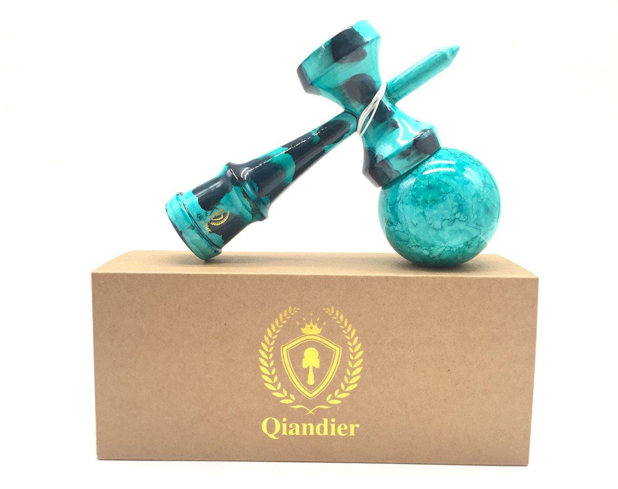 Qiandier Kendama Full Paint Jouets de sport en bois et cordes supplémentaires QDUKK0007