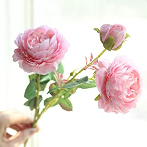 Little Story Artificial Fake Western Rose Flower Peony Bridal Bouquet Wedding Home Decor, Western Rose Peony Artificial Flower Fake Flower White Powder Edge Milk White Champagne Pink Silk Fake