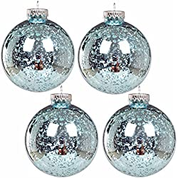 "KI Store Christmas Mercury Ball Ornaments Outdoor Hanging Tree Decorations Large Shatterproof Shinny Vintage Balls Set of 4 (4"" Teal)"