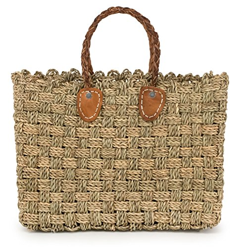 Moroccan Straw Tote Bag w/ Brown Leather Handles, 15.5