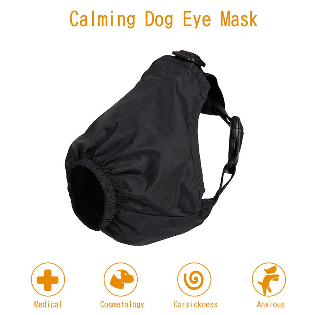 AOXIANG Dog Muzzle,Calming Dog Eye Mask,Multifunctional Pet Anxiety Collar Mask for Medical,Cosmetology,Carsickness,Anxious (M)