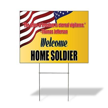 Amazon.com: Señal destino Bienvenido a casa Soldier- T ...