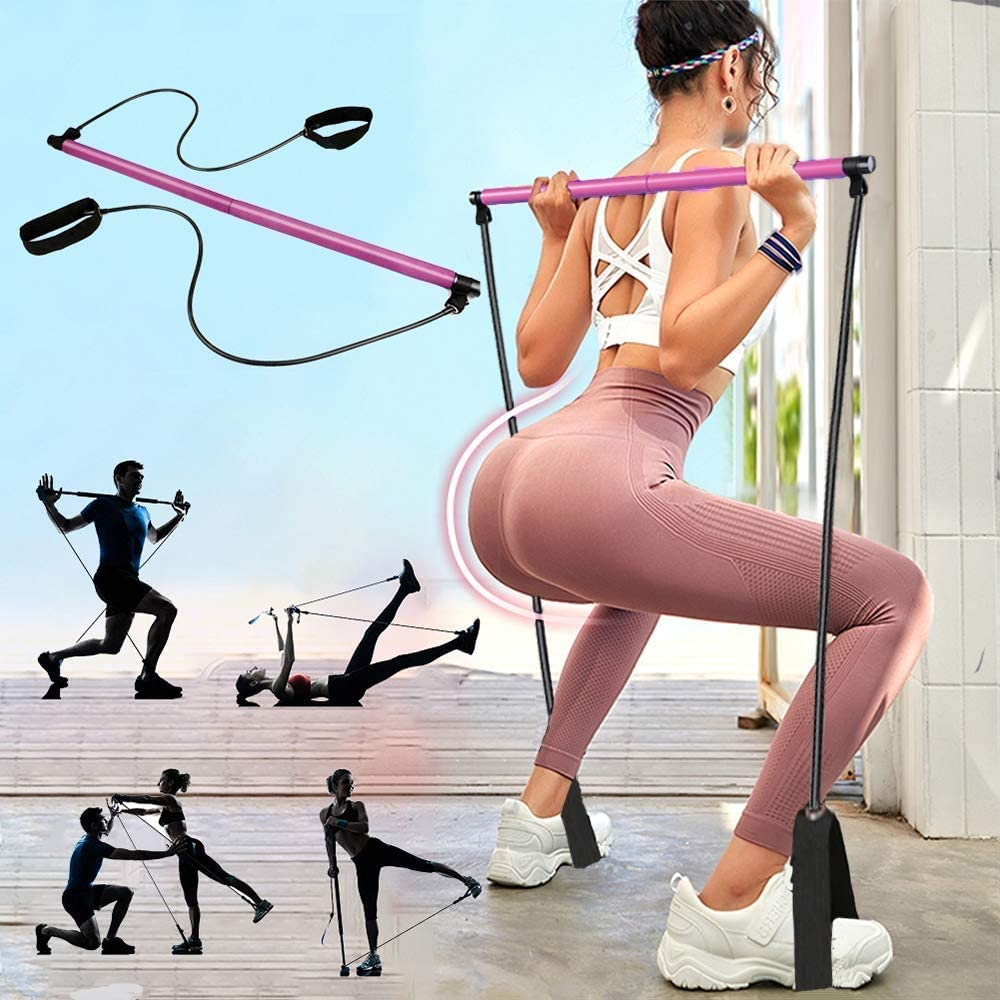 Portable Pilates Bar Kit with Exercise Resistance Bands WAS £14.99 NOW £7.49 w/code USZWH8SW @ Amazon