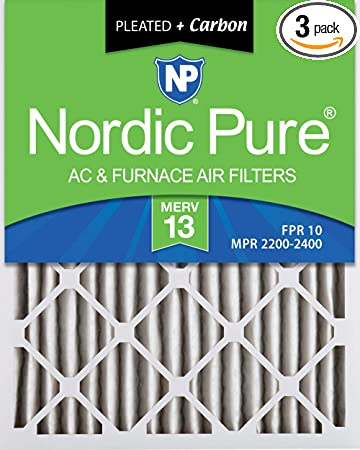 Nordic Pure 18x20x2 MERV 13 Plus Carbon Pleated AC Furnace Air Filters 3 Pack