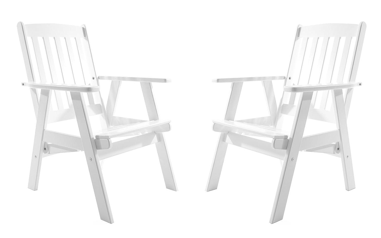 Ambientehome Gartensessel verstellbarer Sessel Stuhl Gartenstuhl Massivholz Hochlehner VARBERG, VARBERG, VARBERG, Weiß, 2-teiliges Set 1b62b4