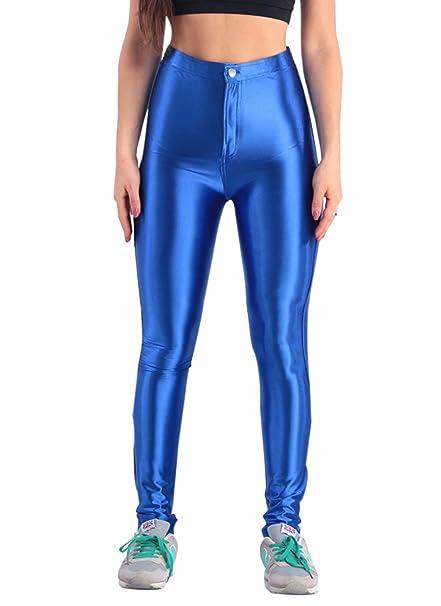 323487ab31f54 Manstore Women's Shiny Metallic Liquid High Waist Leggings A527 Blue XS