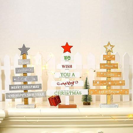 Preciosas Decoraciones de Madera para árboles de Navidad Adornos Decoración de Escritorio de Mesa para el Dormitorio de la casa - Gris: Amazon.es: Hogar