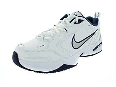 634773fe02dd8 Nike Men's Air Monarch IV Training Shoe,(White/Mtllc Slvr/Mid Navy,9 (4E W))