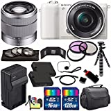 Sony Alpha a5100 Mirrorless Digital Camera with 16-50mm Lens (White) + Sony SEL 1855 18-55mm Zoom Lens + 144GB Bundle 16 - International Version (No Warranty)