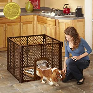 "North States Mypet Petyard Passage: 4, 6 or 8 panel pet enclosure with lockable pet door. Freestanding. 7 sq. ft to 34.4 sq. ft. (26"" tall)"