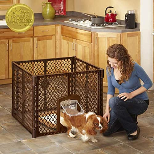 North States MyPet 7 Sq. Ft. Stages Indoor Outdoor Petyard 4 panel pet enclosure with lockable pet door. Freestanding 26 tall, Brown