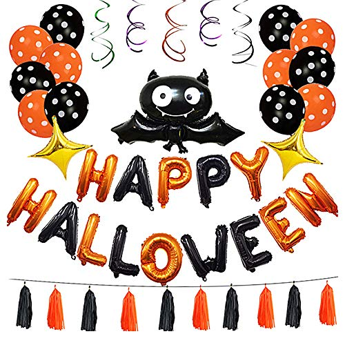 45 Pack Halloween Balloons Set Bat Tassels Inflatable Happy Halloween Swirl Ceiling Hanging Decorations Party Favors Supplies