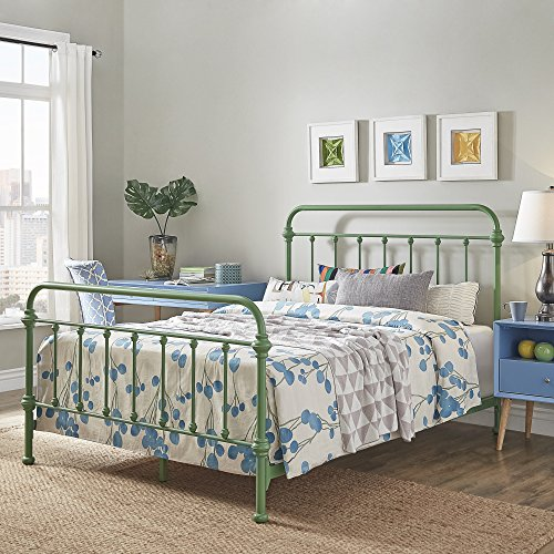 Very Sturdy, Contemporary, Classic, Beautiful, Comfortable, Great Night Dream, Dreambed, Metal bed, Multiple Sizes and Colors + Expert Guide (Twin, Meadow Green) ()