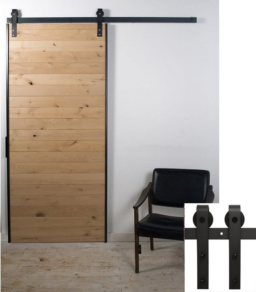 Hahaemall 243,84 cm/2,44 m decorativa doblado estilo único rodillo de puerta corredera interior puerta de granero Hardware Track Roller Kit: Amazon.es: Bricolaje y herramientas