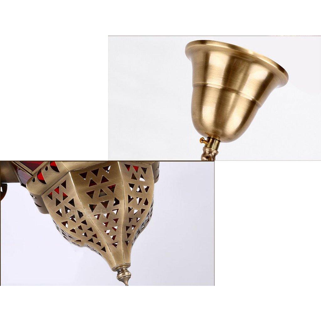 Longwei lámpara de araña Manual de Soldadura Restaurante café de Pasillo Vidrio de latón Retro Luz Blanca Palacio de Estilo árabe: Amazon.es: Hogar