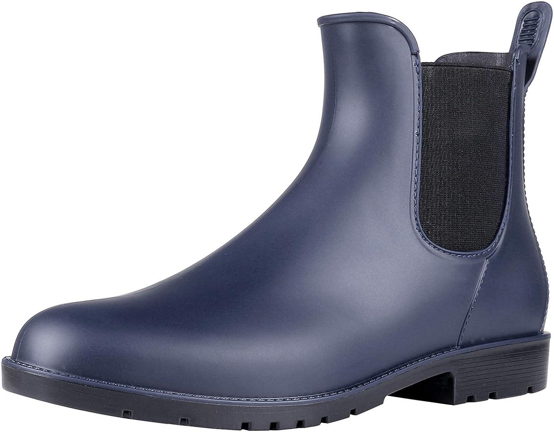 Lightweight Chelsea Rainboots Men/'s Black Rubber Low Ankle Boots US8