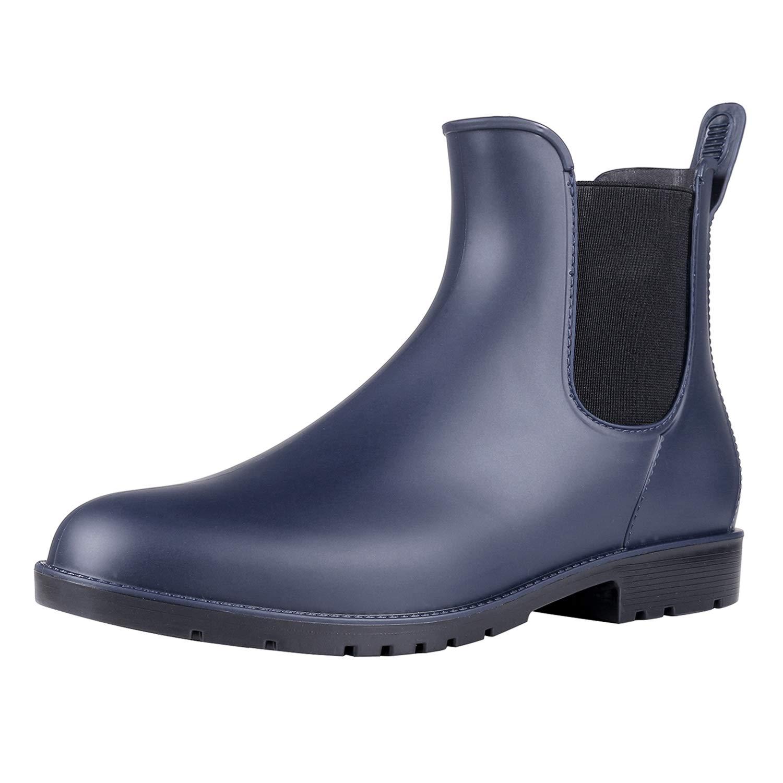 Asgard Women's Short Rain Boots Waterproof Slip On Ankle Chelsea Booties Navy 40