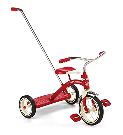 6e6d1051817 Amazon.com: Radio Flyer Classic Tricycle with Push Handle, Red: Toys & Games