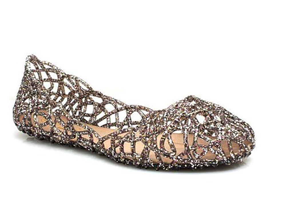 Glaze Women Fashion Designer Layered Lines Jelly Ballet Flats (10 B (M) US, Pewter1)