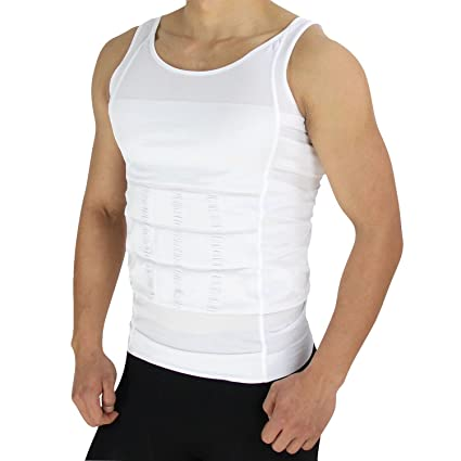SRJLS Mens Tummy Vest AB15 M_White_M Vests