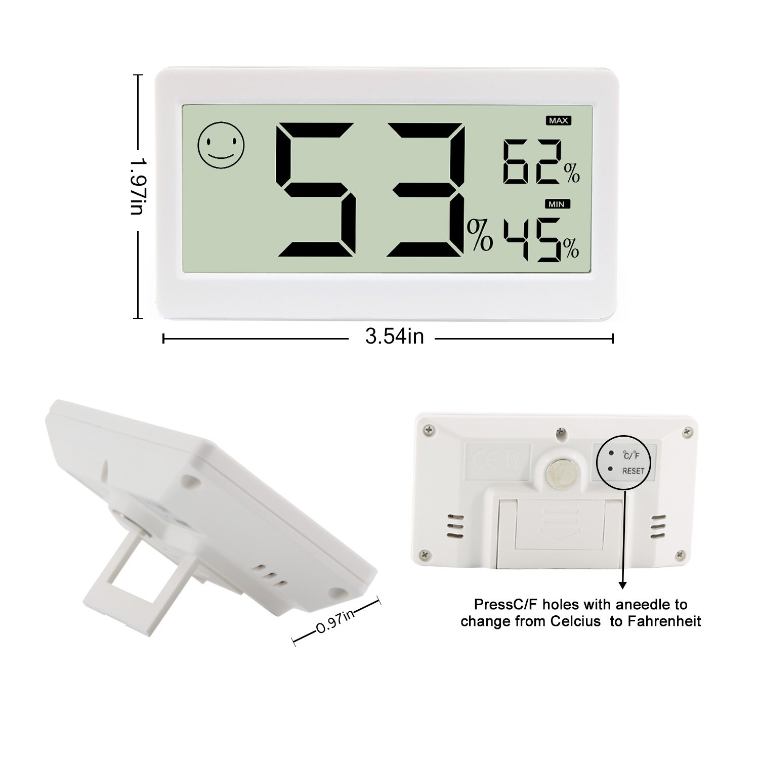 ChenYuTe Digital Thermometer Hygrometer,Humidity Monitor Temperature Gauge 3.3 Inch LCD Display,Table Standing,Magnet Attaching Household,Kids Home,Kitchen,etc (2 Pack) by ChenYuTe