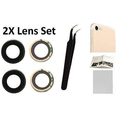 """2X Cámara trasera de repuesto de lente de cristal + herramienta + guía con puntas + adhesivos preinstalados + cristal templado + paño de limpieza para iPhone 7 y 8 4,7"""" modelo A1660, A1778, A1779, A1"""