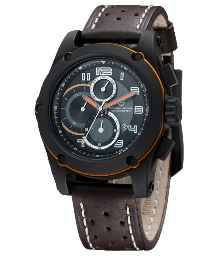 Fanmis Japan Quartz Sports Watch Wristwatch Men Luxury Brand Brown Leather 5atm Military Watches